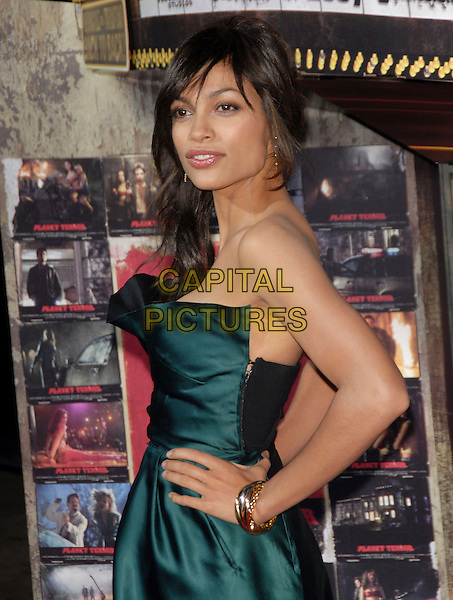 "ROSARIO DAWSON.attends The Dimension Films' L.A. Premiere of ""Grindhouse"" held at The Orpheum Theatre in Los Angeles, California, USA, March 26th 2007..half length green strapless dress hands on hips.CAP/DVS.©Debbie VanStory/Capital Pictures"