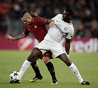 Football Soccer: UEFA Champions League AS Roma vs Chelsea Stadio Olimpico Rome, Italy, October 31, 2017. <br /> Roma's Radja Nainggolan (l) in action with Roma's Antonio Rudiger (r) during the Uefa Champions League football soccer match between AS Roma and Chelsea at Rome's Olympic stadium, October 31, 2017.<br /> UPDATE IMAGES PRESS/Isabella Bonotto