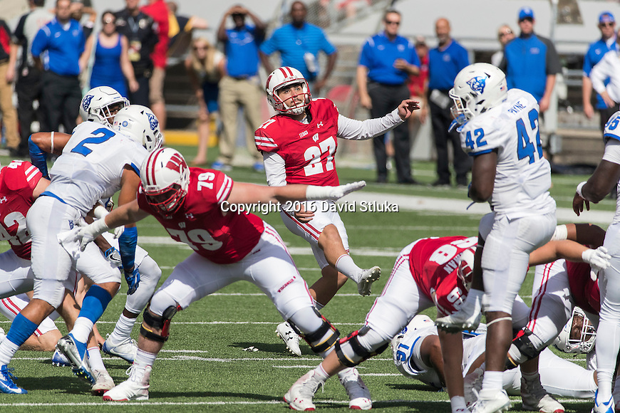 Wisconsin Badgers kicker Rafael Gaglianone (27) kicks a field goal during an NCAA college football game against the Georgia State Panthers Saturday, September 17, 2016, in Madison, Wis. The Badgers won 23-17. (Photo by David Stluka)