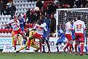 Mark Roberts of Stevenage heads for goal. Stevenage v Leyton Orient - npower League 1 -  Lamex Stadium, Stevenage - 2nd February, 2013. © Kevin Coleman 2013.