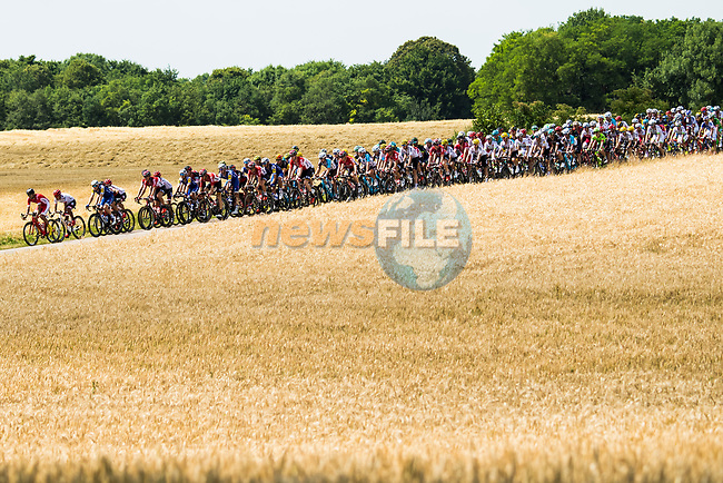 The peloton in action during Stage 7 of the 104th edition of the Tour de France 2017, running 213.5km from Troyes to Nuits-Saint-Georges, France. 7th July 2017.<br /> Picture: ASO/Alex Broadway | Cyclefile<br /> <br /> <br /> All photos usage must carry mandatory copyright credit (&copy; Cyclefile | ASO/Alex Broadway)