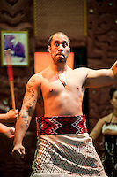 Maori Man Performing the Haka at Te Puia Moari Village, Rotorua, North Island, New Zealand