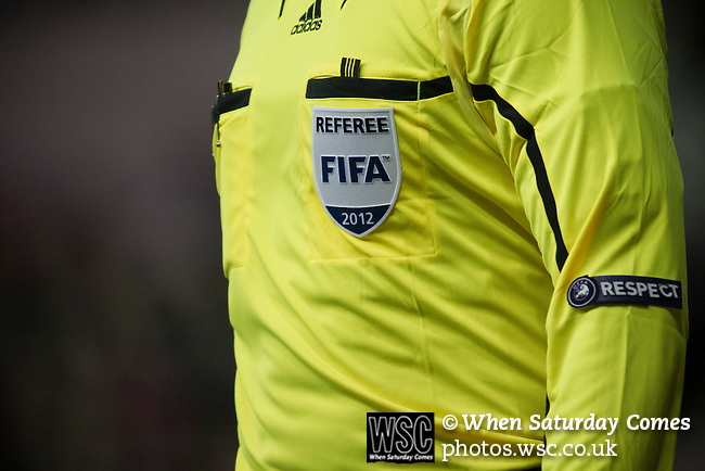 Stoke City 0 Valencia 1, 16/02/2012. Britannia Stadium, UEFA Europa League. One of the goal line referee's assistant at the Britannia Stadium, Stoke-on-Trent, during the UEFA Europa League last 32 first leg between Stoke City and visitors Valencia. The match ended in a 1-0 victory from the visitors from Spain. Mehmet Topal scored the only goal in the first half in a match watched by a crowd of 24,185. Photo by Colin McPherson.