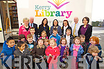 Children from Oakview village childcare were delighted when the Kerry Library mobile unit visited on Monday, the mobile library will visit every two weeks. At back from left are: Leslie Ann Greene, Jim Glancy, Marie O'Carroll, Clodagh Moynihan, Kay O'Rahilly, James Dowling and Kornelia Kovacs.