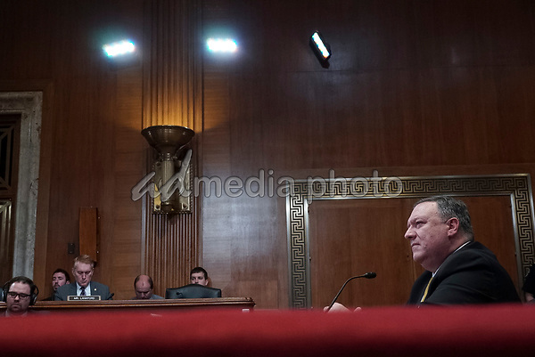 United States Secretary of State Mike Pompeo testifies before the US Senate State, Foreign Operations, and Related Programs Subcommittee on April 9, 2019 regarding the State Department's budget request for fiscal year 2020.<br /> Credit: Stefani Reynolds / CNP/AdMedia