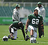 Devon Still #62 of the New York Jets stretches during training camp at the Atlantic Health Jets Training Center in Florham Park, NJ on Friday, Aug. 4, 2017.