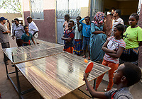 ETHIOPIA , Dire Dawa, children play table tennis / AETHIOPIEN, Dire Dawa, Kinder spielen Tischtennis