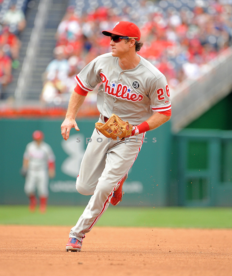 Philadelphia Phillies Chase Utley (26) during a game against the Washington Nationals on August 3, 2014 at Nationals Park in Washington, DC. The Nationals beat the Phillies 4-0.