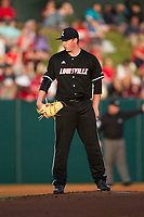 Louisville Cardinals starting pitcher Brendan McKay (38) looks to his catcher for the sign against the North Carolina State Wolfpack at Doak Field at Dail Park on March 24, 2017 in Raleigh, North Carolina.  (Brian Westerholt/Four Seam Images)