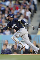 Yuniesky Betancourt #3 of the Milwaukee Brewers bats against the Los Angeles Dodgers at Dodger Stadium in Los Angeles,California on May 16, 2011. Photo by Larry Goren/Four Seam Images