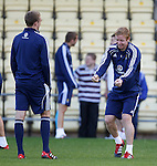 Barry Robson explaing how to drive a car to Darren Fletcher