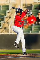 Ruben Sierra Jr. (18) of the Kannapolis Intimidators at bat against the Rome Braves at CMC-Northeast Stadium on April 25, 2013 in Kannapolis, North Carolina.   (Brian Westerholt/Four Seam Images)