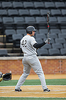 Dillon Dobson (42) of the Appalachian State Mountaineers at bat against the Wake Forest Demon Deacons at Wake Forest Baseball Park on February 13, 2015 in Winston-Salem, North Carolina.  The Mountaineers defeated the Demon Deacons 10-1.  (Brian Westerholt/Four Seam Images)