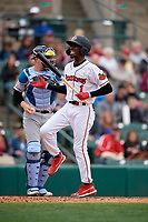 Rochester Red Wings Nick Gordon (1) at bat during an International League game against the Charlotte Knights on June 16, 2019 at Frontier Field in Rochester, New York.  Rochester defeated Charlotte 3-2 in the second game of a doubleheader.  (Mike Janes/Four Seam Images)