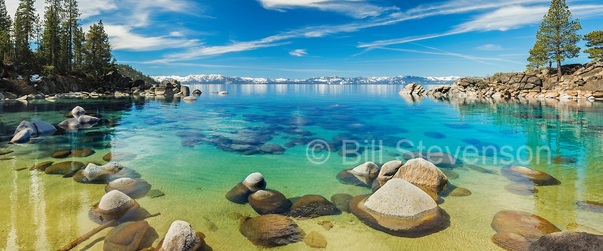 A panorama photo of Secret Cove on the east shore of Lake Tahoe in Nevada.