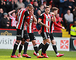 Leon Clarke of Sheffield Utd celebrates scoring their goal during the championship match at the Bramall Lane Stadium, Sheffield. Picture date 14th April 2018. Picture credit should read: Simon Bellis/Sportimage