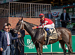 ELMONT, NY-June 30:  Midnight Bisou (#2 ) handily won the Mother Goose stakes at Belmont Park on June 30, 2018.  Bisou is trained by Steve Asmussen and ridden by Triple Crown jockey Mike Smith. (Diana Tracy Cohen /Eclipsesportswire/Getty Images).
