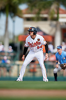 Baltimore Orioles pinch runner Zach Jarrett (94) leads off during a Grapefruit League Spring Training game against the Tampa Bay Rays on March 1, 2019 at Ed Smith Stadium in Sarasota, Florida.  Rays defeated the Orioles 10-5.  (Mike Janes/Four Seam Images)