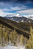 USA, Colorado, Aspen, view of the Elk Mountians from the top of the gondola at Aspen Ski Resort, Ajax