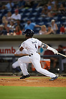 Pensacola Blue Wahoos Shrimp second baseman Shed Long (4) follows through on a swing during a game against the Jacksonville Jumbo on August 15, 2018 at Blue Wahoos Stadium in Pensacola, Florida.  Jacksonville defeated Pensacola 9-2.  (Mike Janes/Four Seam Images)