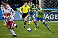 Seattle Sounders forward Fredy Montero (17) works the ball up the field against Seth Stammler (6) of the New York Red Bulls. The Sounders lost to the Red Bulls, 1-0, in an MLS match on Saturday, April 3, 2010 at Qwest Field in Seattle, WA.