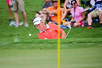Scott Hebert (USA) hits from the trap on 4 during Friday's round 2 of the PGA Championship at the Quail Hollow Club in Charlotte, North Carolina. 8/11/2017.<br /> Picture: Golffile | Ken Murray<br /> <br /> <br /> All photo usage must carry mandatory copyright credit (&copy; Golffile | Ken Murray)