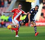 Kike of Middlesbrough battles Giuseppe Bellusci of Leeds - Middlesbrough vs. Leeds United - Skybet Championship - Riverside Stadium - Middlesbrough - 21/02/2015 Pic Philip Oldham/Sportimage