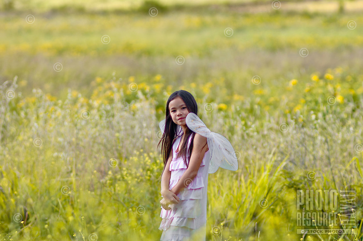 Young girl with fairy wings in a field of flowers