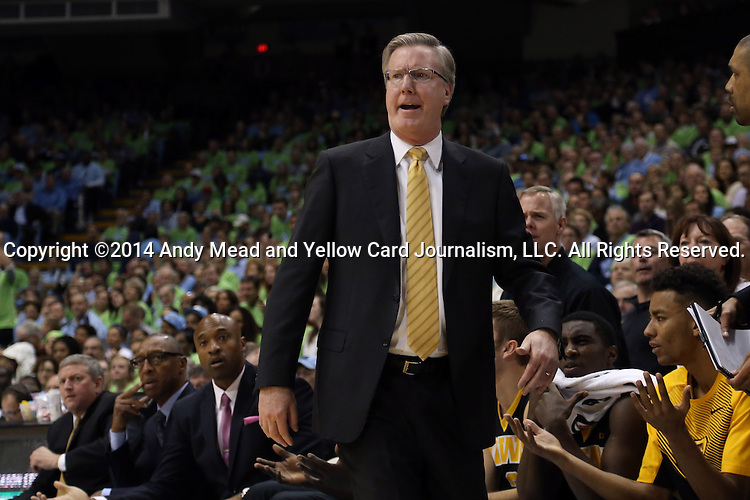 03 December 2014: Iowa head coach Fran McCaffery. The University of North Carolina Tar Heels played the University of Iowa Hawkeyes in an NCAA Division I Men's basketball game at the Dean E. Smith Center in Chapel Hill, North Carolina. Iowa won the game 60-55.