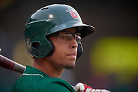 Fort Wayne TinCaps center fielder Jeisson Rosario (18) on deck during a game against the West Michigan Whitecaps on May 17, 2018 at Parkview Field in Fort Wayne, Indiana.  Fort Wayne defeated West Michigan 7-3.  (Mike Janes/Four Seam Images)