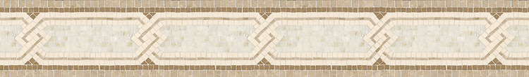 "6"" Tivoli border, a hand-cut stone mosaic, shown in honed Lagos Gold, Ivory Cream, polished Cloud Nine, and Botticino."