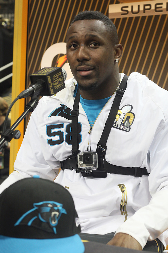 February 01, 2016: Carolina Panthers Linebacker Thomas Davis (58) being interviewed during Super Bowl 50 Opening Night, introducing the Carolina Panthers to the global media at the SAP Center in San Jose, Ca. (Photo by Rob Holt/ICON Sportswire).