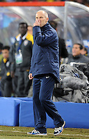 USA manager Bob Bradley looks dejected. Brazil defeated USA 3-2 in the FIFA Confederations Cup Final at Ellis Park Stadium in Johannesburg, South Africa on June 28, 2009.