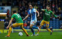 Blackburn Rovers' Lewis Travis takes on Preston North End's Alan Browne and Joe Rafferty<br /> <br /> Photographer Alex Dodd/CameraSport<br /> <br /> The EFL Sky Bet Championship - Blackburn Rovers v Preston North End - Saturday 11th January 2020 - Ewood Park - Blackburn<br /> <br /> World Copyright © 2020 CameraSport. All rights reserved. 43 Linden Ave. Countesthorpe. Leicester. England. LE8 5PG - Tel: +44 (0) 116 277 4147 - admin@camerasport.com - www.camerasport.com
