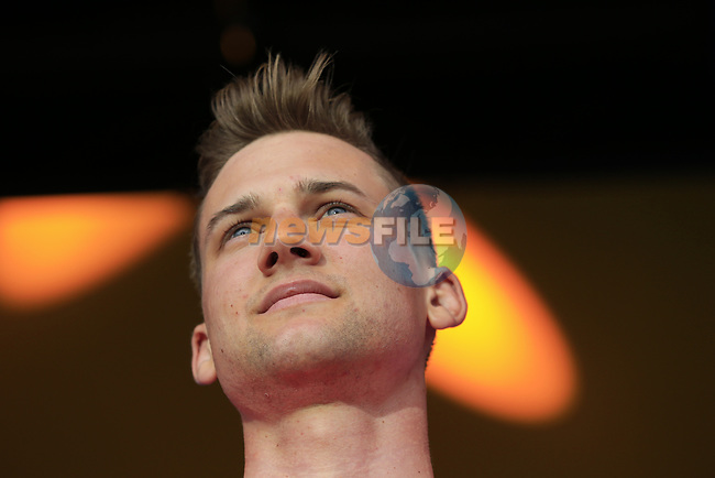 Tim Wellens (BEL) Lotto-Soudal team on stage at the Team Presentation in Burgplatz Dusseldorf before the 104th edition of the Tour de France 2017, Dusseldorf, Germany. 29th June 2017.<br /> Picture: Eoin Clarke | Cyclefile<br /> <br /> <br /> All photos usage must carry mandatory copyright credit (&copy; Cyclefile | Eoin Clarke)