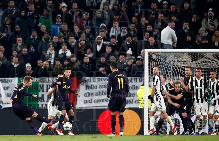 Football Soccer: UEFA Champions League Juventus vs Tottenahm Hotspurs FC Round of 16 1st leg, Allianz Stadium. Turin, Italy, February 13, 2018. <br /> Tottenham's Christian Eriksen (l) scores during the Uefa Champions League football soccer match between Juventus and Tottenahm Hotspurs FC at Allianz Stadium in Turin, February 13, 2018.<br /> UPDATE IMAGES PRESS/Isabella Bonotto