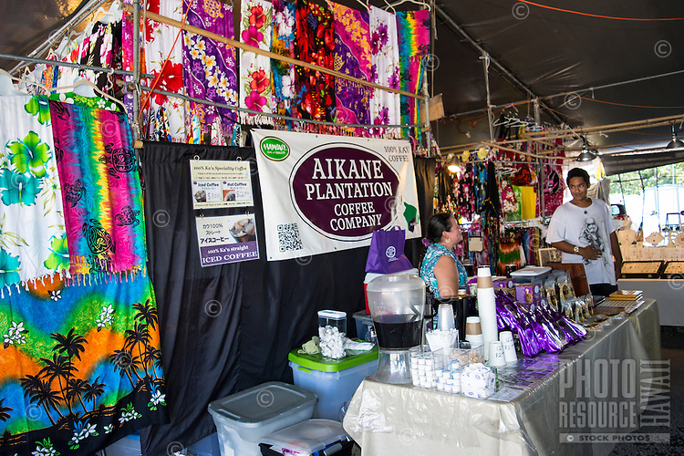 The Aikane Plantation Coffee Company booth at the Hilo Farmers Market, Big Island of Hawai'i.