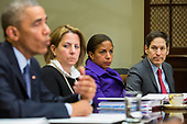 In this file photo from November 18, 2014, United States President Barack Obama speaks to the media, with Lisa Monaco, Homeland Security Advisor to President Obama, Susan Rice, National Security Advisor, and Tom Frieden, Director of the Centers for Disease Control and Prevention (CDC), looking on, during a meeting with his national security and public health teams concerning the government's Ebola response, in the Roosevelt Room of the White House in Washington, DC. President Obama called on Congress to approve $6.2 billion in emergency spending to fight Ebola in West Africa. Frieden was arrested in New York, New York on August 24, 2018 as the result of allegations of forcible touching, sex abuse and harassment of a woman in October 2017. <br /> Credit: Drew Angerer / Pool via CNP