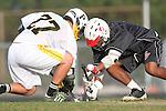 Palos Verdes, CA 03/30/10 -  Roman Smith (Palos Verdes #3) and Sean Wilson (Peninsula #27) in action during the Palos Verdes-Peninsula JV Boys Lacrosse game.