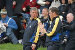 Ryder Cup 206 K Club, Straffan, Ireland..European Ryder Cup team player Darren Clarke and teammate Lee Westwood on the 1st green during  the  morning fourballs session of the second day of the 2006 Ryder Cup at the K Club in Straffan, Co Kildare, in the Republic of Ireland, 23 September 2006...Photo: Eoin Clarke/ Newsfile.