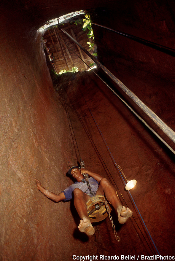 Hard rock gold mining in Amazon rain forest - underground mining, where the ore is extracted through tunnels and shafts, Brazil.