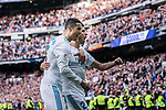 Cristiano Ronaldo of Real Madrid (L) celebrating his score with Marco Asensio of Real Madrid (R) during the La Liga 2017-18 match between Real Madrid and Sevilla FC at Santiago Bernabeu Stadium on 09 December 2017 in Madrid, Spain. Photo by Diego Souto / Power Sport Images