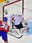 13 December 2008: Washington Capitals' goaltender Simeon Varlamov from Russia has one go off the post in the first period against the Montreal Canadiens at the Bell Centre in Montreal, Quebec, Canada. ***** Editorial Sales Only ***** Mandatory Photo Credit: Ed Wolfstein Photo