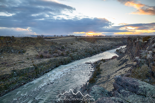 Idaho, South central, Murtaugh. Sunset in January over the Snake River Canyon.