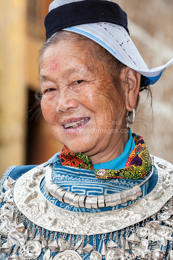 Matang, a Gejia Village in Guizhou, China.  Middle-aged Gejia Woman in Traditional Dress.