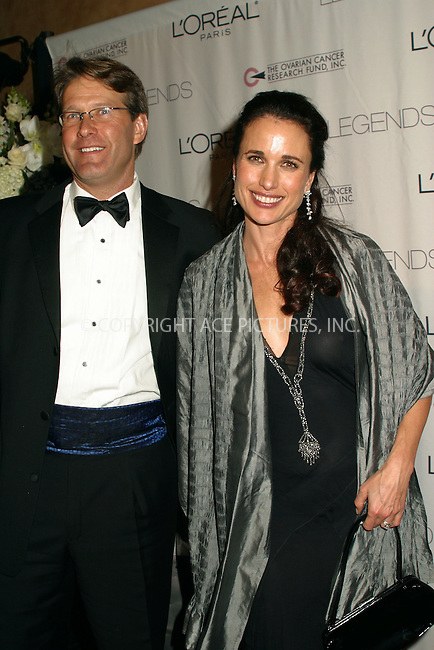 "Andie MacDowell and husband attend ""The First Annual Liz Tileris Humanitarian Award"" to benefit The Ovarian Cancer Research Fund. The event is hosted by L'Oreal. New York, December 2, 2002. Please byline: Alecsey Boldeskul/NY Photo Press.   ..*PAY-PER-USE*      ....NY Photo Press:  ..phone (646) 267-6913;   ..e-mail: info@nyphotopress.com"