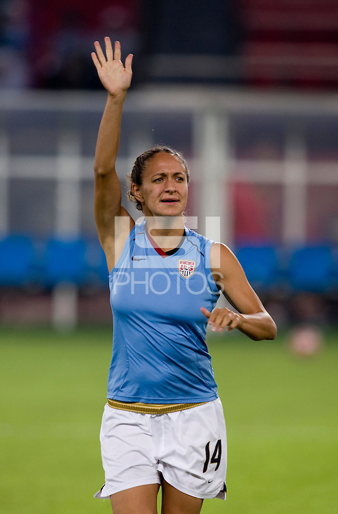 Stephanie Cox. The USWNT defeated Japan, 4-2, during the semi-finals of the Beijing 2008 Olympics in Beijing, China.