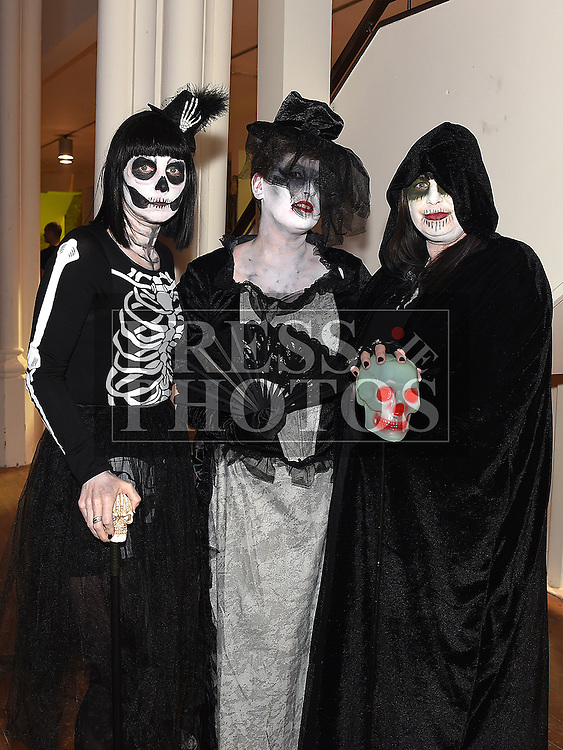 Kate Moonan, Deirdre Commons and Annmarie Clarke at the Halloween Ball in the old church Ardee in aid of St. Mary's GAA club. Photo:Colin Bell/pressphotos.ie