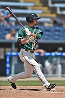 Greensboro Grasshoppers second baseman JT Riddle #15 swings at a pitch during a game against the  Asheville Tourists at McCormick Field June 29, 2014 in Asheville, North Carolina. The Grasshoppers defeated the Tourists 4-0. (Tony Farlow/Four Seam Images)