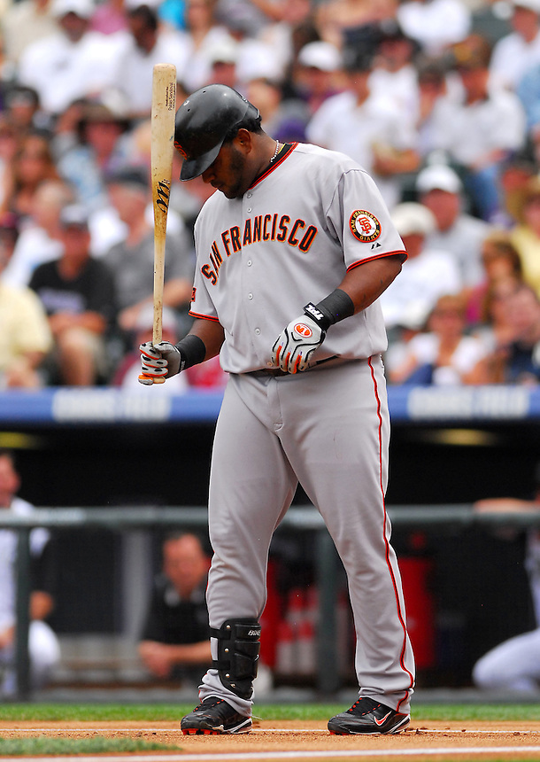 August 23, 2009: Giants 3rd baseman and 2009 National League Most Valuable Player candidate Pablo Sandoval goes through a pre-at-bat ritual during a regular season game between the San Francisco Giants and the Colorado Rockies at Coors Field in Denver, Colorado. The Rockies beat the Giants 4-2. *****For editorial use only*****